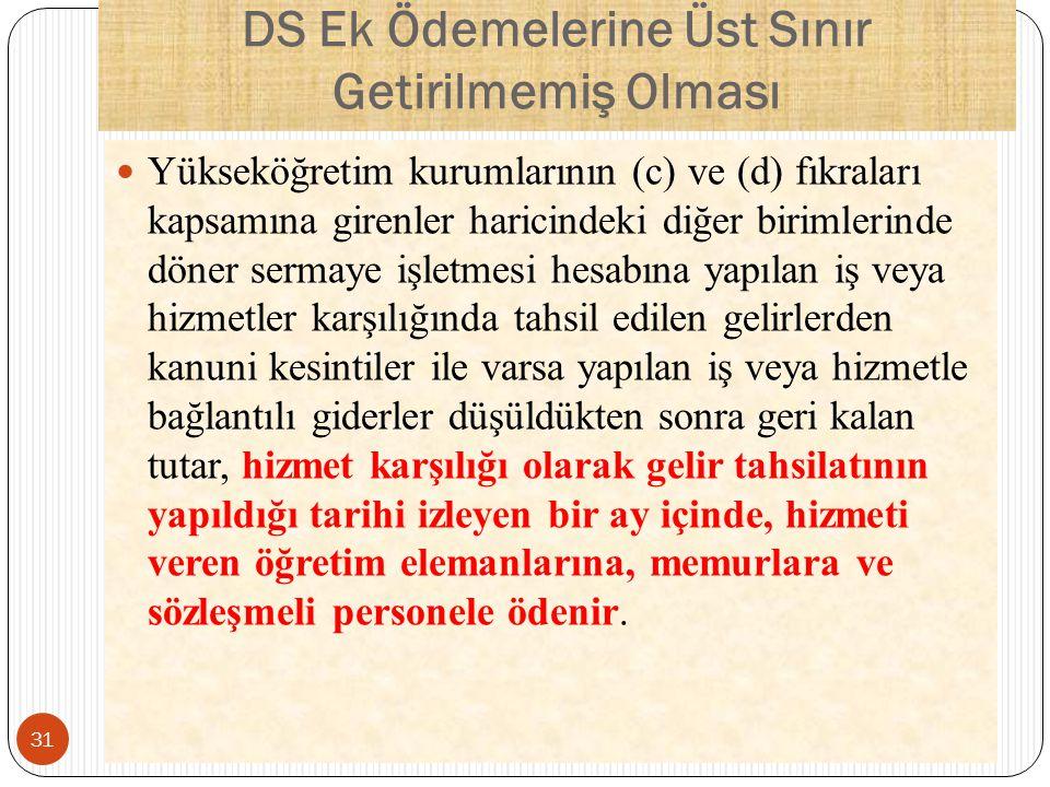 DS Ek Ödemelerine Üst Sınır Getirilmemiş Olması Yükseköğretim kurumlarının (c) ve (d) fıkraları kapsamına girenler haricindeki diğer birimlerinde döne
