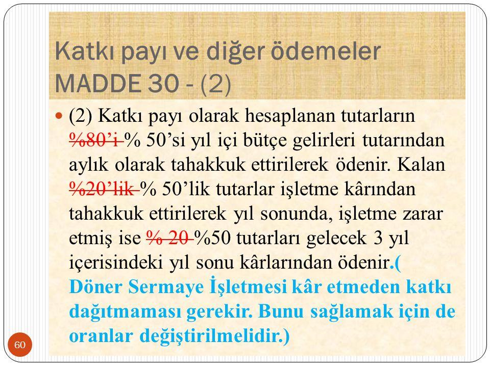 Katkı payı ve diğer ödemeler MADDE 30 - (2) (2) Katkı payı olarak hesaplanan tutarların %80'i % 50'si yıl içi bütçe gelirleri tutarından aylık olarak