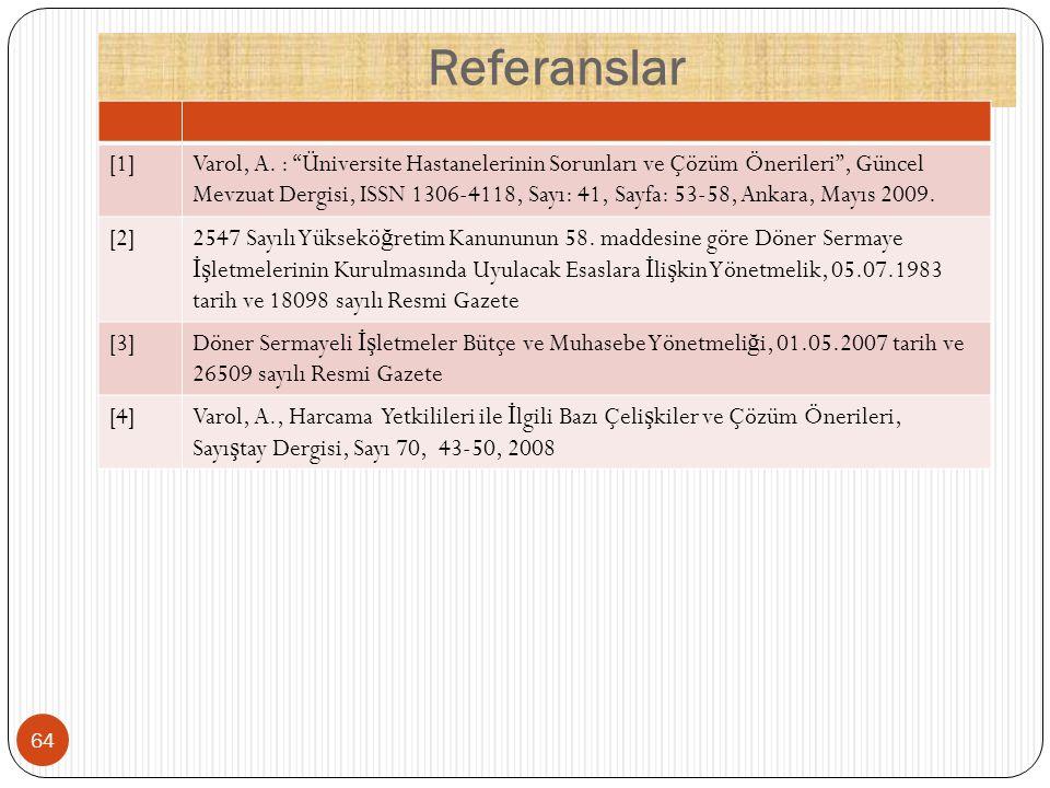 """Referanslar [1]Varol, A. : """"Üniversite Hastanelerinin Sorunları ve Çözüm Önerileri"""", Güncel Mevzuat Dergisi, ISSN 1306-4118, Sayı: 41, Sayfa: 53-58, A"""