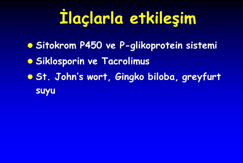 İlaçlarla etkileşim l Sitokrom P450 ve P-glikoprotein sistemi l Siklosporin ve Tacrolimus l St. John's wort, Gingko biloba, greyfurt suyu