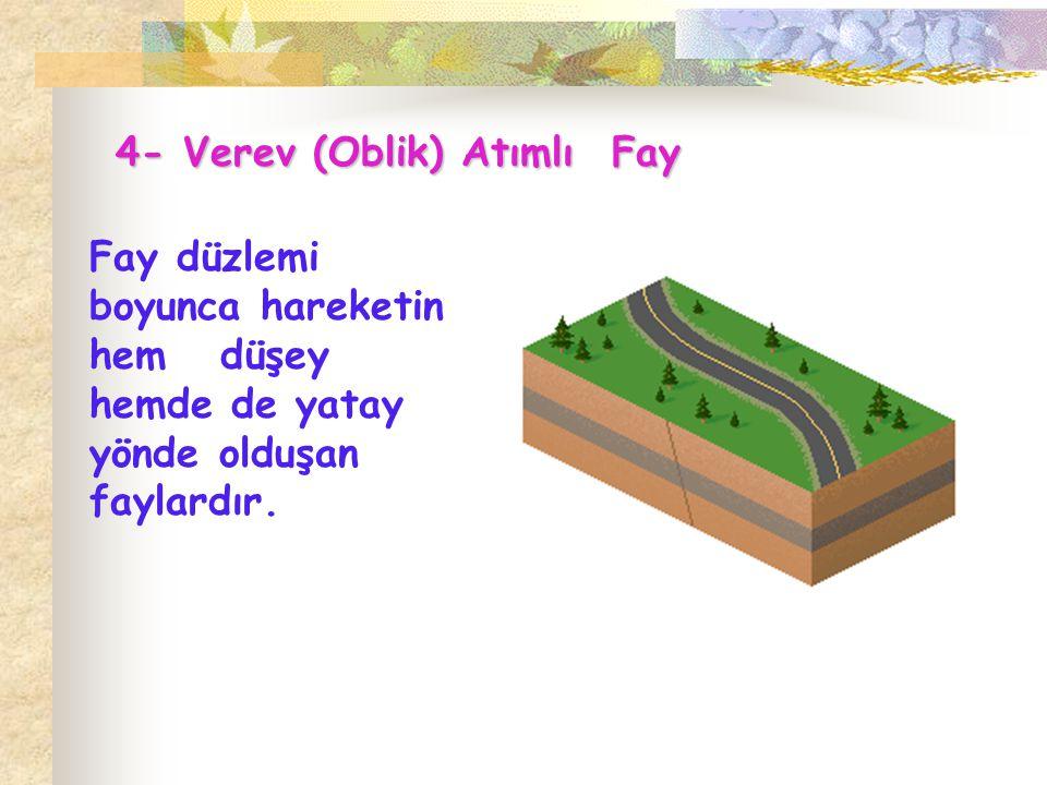 4- Verev (Oblik) Atımlı Fay Fay düzlemi boyunca hareketin hem düşey hemde de yatay yönde olduşan faylardır.