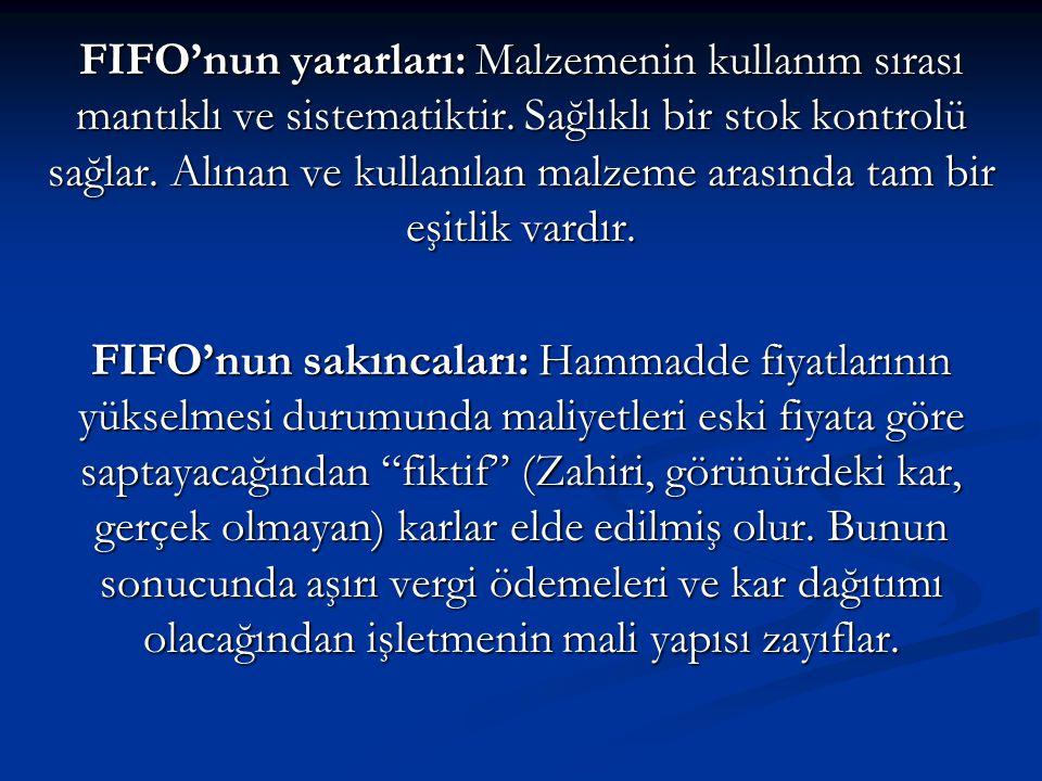 FIFO'nun yararları: Malzemenin kullanım sırası mantıklı ve sistematiktir. Sağlıklı bir stok kontrolü sağlar. Alınan ve kullanılan malzeme arasında tam