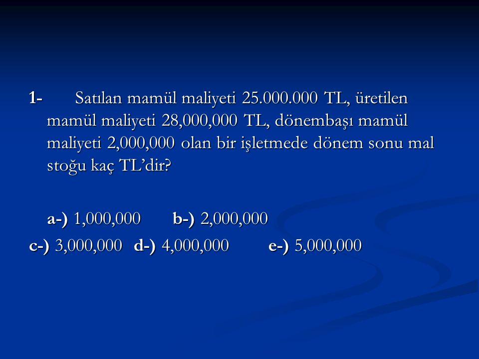 1- Satılan mamül maliyeti 25.000.000 TL, üretilen mamül maliyeti 28,000,000 TL, dönembaşı mamül maliyeti 2,000,000 olan bir işletmede dönem sonu mal s