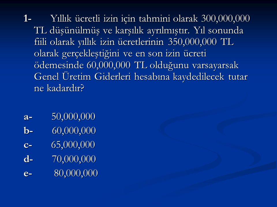 1- Yıllık ücretli izin için tahmini olarak 300,000,000 TL düşünülmüş ve karşılık ayrılmıştır. Yıl sonunda fiili olarak yıllık izin ücretlerinin 350,00