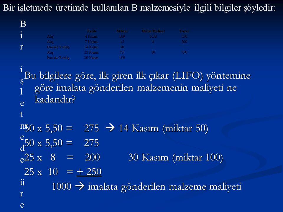Bu bilgilere göre, ilk giren ilk çıkar (LIFO) yöntemine göre imalata gönderilen malzemenin maliyeti ne kadarıdır? 50 x 5,50 = 275  14 Kasım (miktar 5