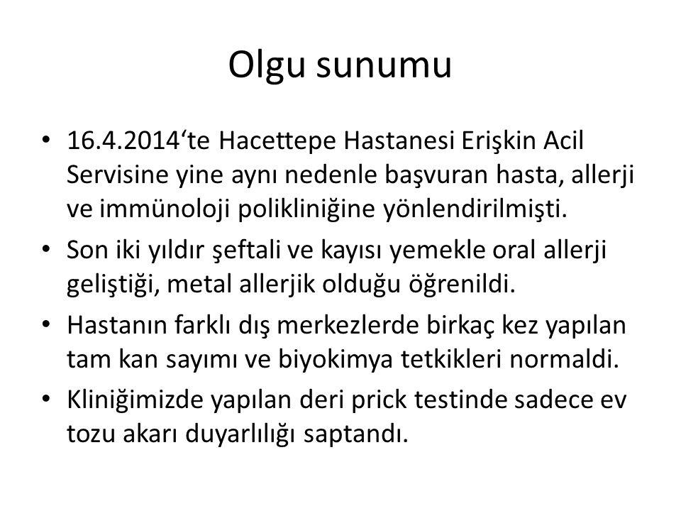Olgu sunumu 16.4.2014'te Hacettepe Hastanesi Erişkin Acil Servisine yine aynı nedenle başvuran hasta, allerji ve immünoloji polikliniğine yönlendirilmişti.