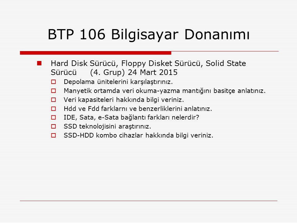 Hard Disk Sürücü, Floppy Disket Sürücü, Solid State Sürücü (4. Grup) 24 Mart 2015  Depolama ünitelerini karşılaştırınız.  Manyetik ortamda veri okum