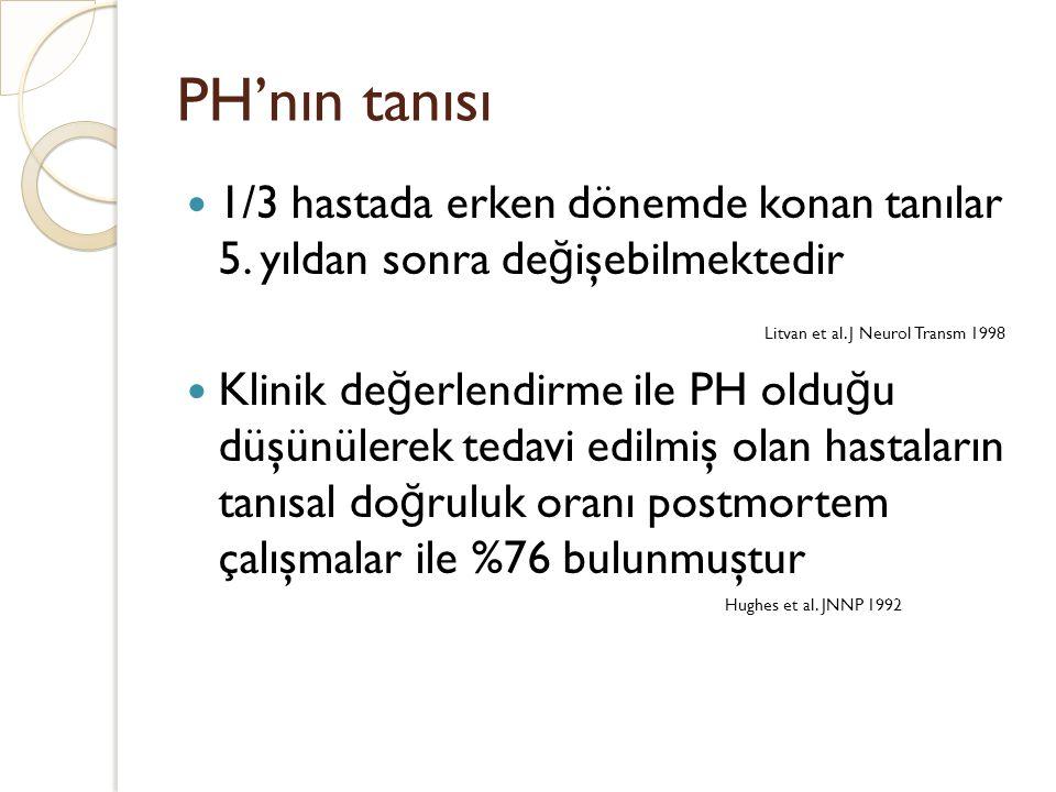 PH'nın tanısı 1/3 hastada erken dönemde konan tanılar 5. yıldan sonra de ğ işebilmektedir Litvan et al. J Neurol Transm 1998 Klinik de ğ erlendirme il