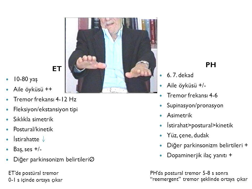 """ET'de postüral tremor 0-1 s içinde ortaya çıkar PH'da postural tremor 5-8 s sonra """"reemergent"""" tremor şeklinde ortaya çıkar ET 10-80 yaş Aile öyküsü +"""