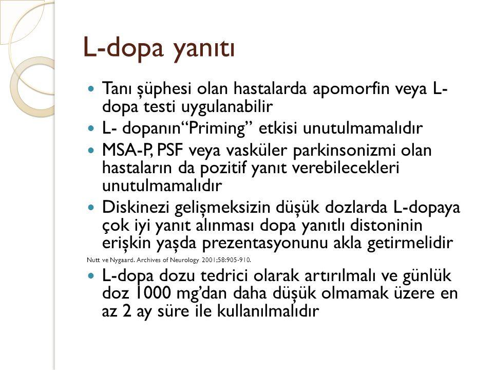 """L-dopa yanıtı Tanı şüphesi olan hastalarda apomorfin veya L- dopa testi uygulanabilir L- dopanın""""Priming"""" etkisi unutulmamalıdır MSA-P, PSF veya vaskü"""