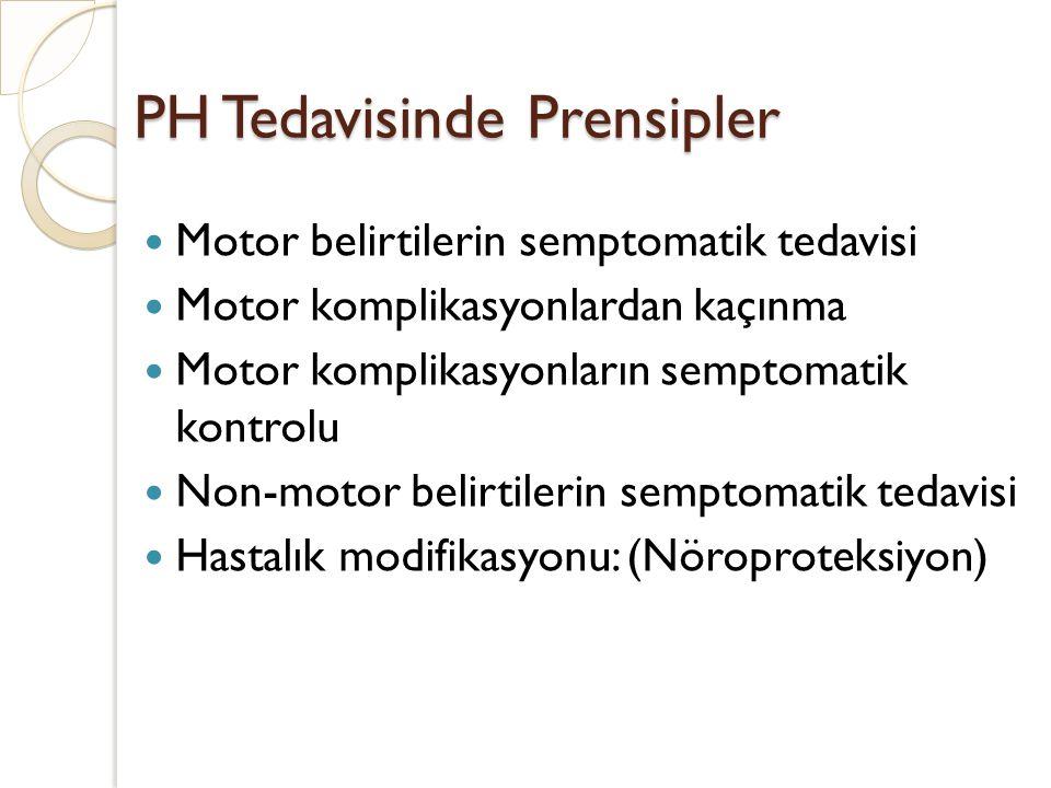 PH Tedavisinde Prensipler Motor belirtilerin semptomatik tedavisi Motor komplikasyonlardan kaçınma Motor komplikasyonların semptomatik kontrolu Non-mo