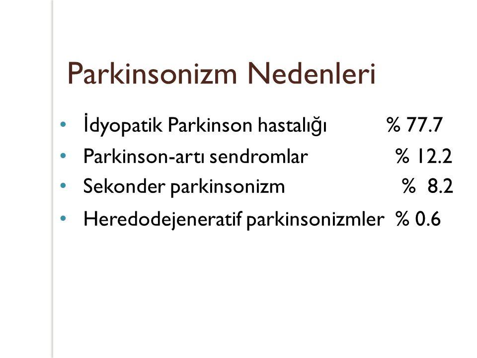 Parkinsonizm Nedenleri İ dyopatik Parkinson hastalı ğ ı % 77.7 Parkinson-artı sendromlar % 12.2 Sekonder parkinsonizm % 8.2 Heredodejeneratif parkinso