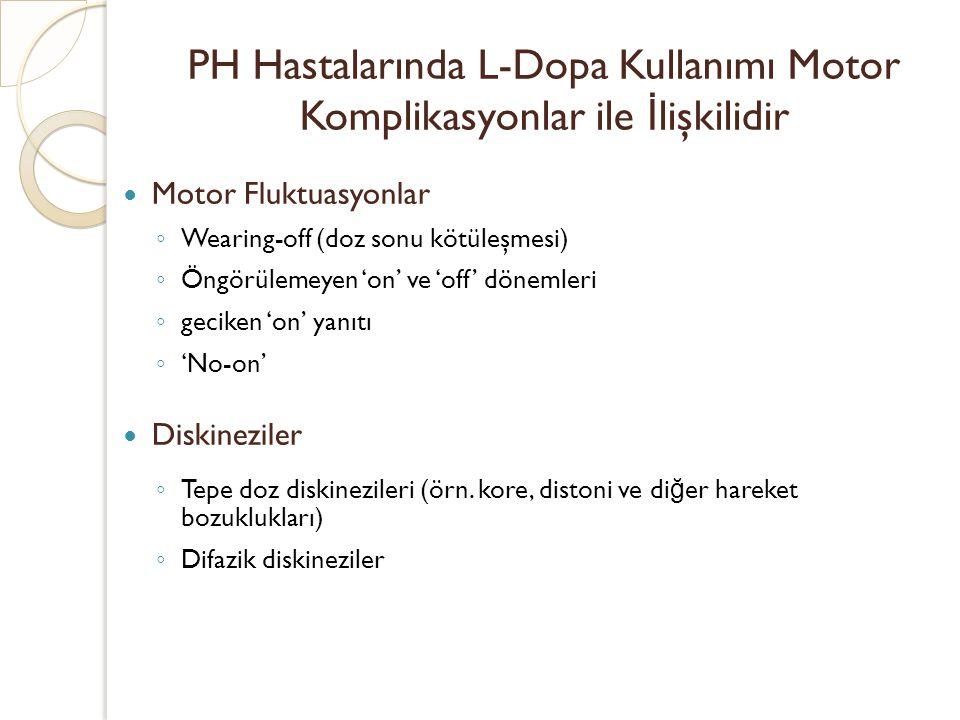 PH Hastalarında L-Dopa Kullanımı Motor Komplikasyonlar ile İ lişkilidir Motor Fluktuasyonlar ◦ Wearing-off (doz sonu kötüleşmesi) ◦ Öngörülemeyen 'on'