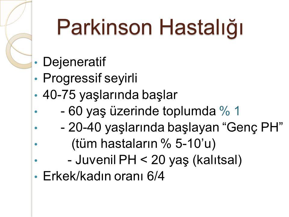 """Parkinson Hastalığı Dejeneratif Progressif seyirli 40-75 yaşlarında başlar - 60 yaş üzerinde toplumda % 1 - 20-40 yaşlarında başlayan """"Genç PH"""" (tüm h"""