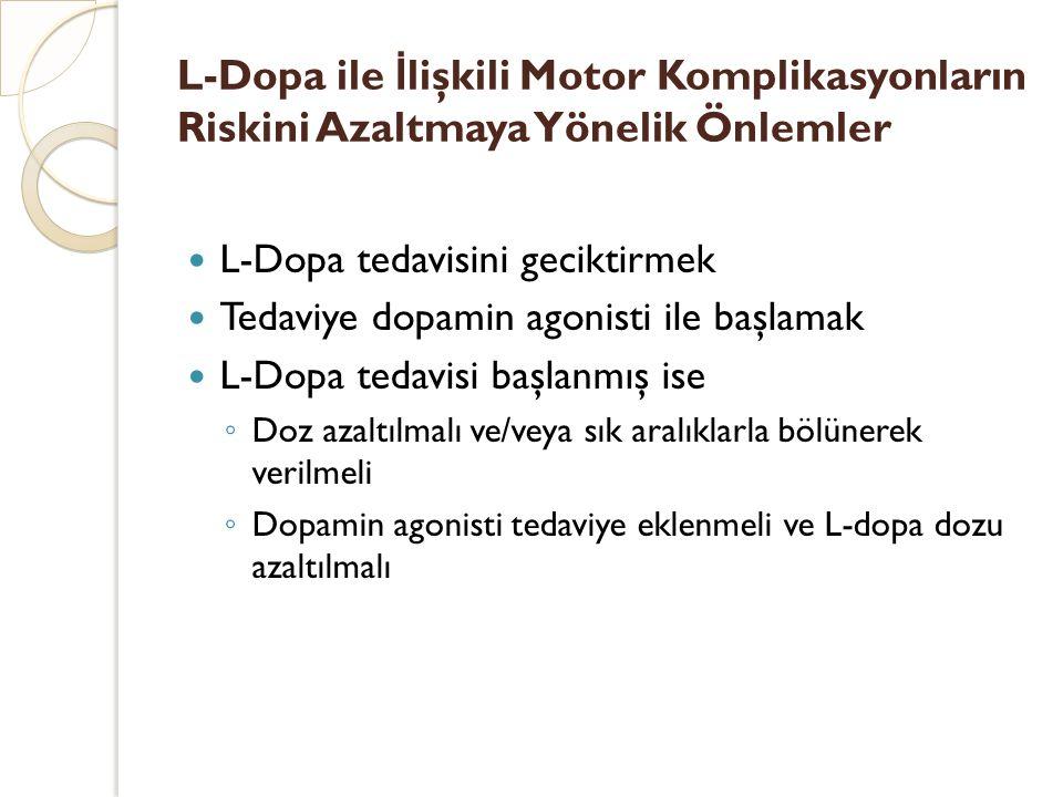 L-Dopa ile İ lişkili Motor Komplikasyonların Riskini Azaltmaya Yönelik Önlemler L-Dopa tedavisini geciktirmek Tedaviye dopamin agonisti ile başlamak L