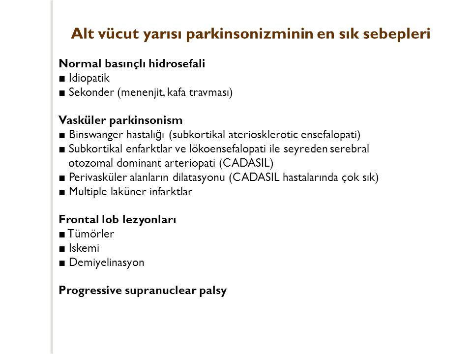 Alt vücut yarısı parkinsonizminin en sık sebepleri Normal basınçlı hidrosefali ■ Idiopatik ■ Sekonder (menenjit, kafa travması) Vasküler parkinsonism