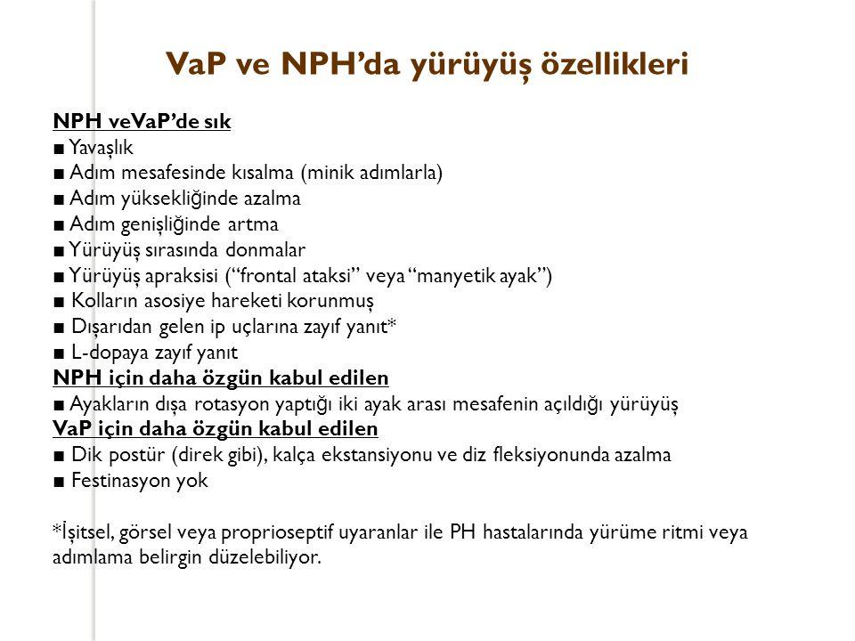 VaP ve NPH'da yürüyüş özellikleri NPH veVaP'de sık ■ Yavaşlık ■ Adım mesafesinde kısalma (minik adımlarla) ■ Adım yüksekli ğ inde azalma ■ Adım genişl