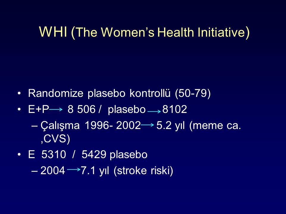 WHI ( The Women's Health Initiative ) Randomize plasebo kontrollü (50-79) E+P 8 506 / plasebo 8102 –Çalışma 1996- 2002 5.2 yıl (meme ca.,CVS) E 5310 / 5429 plasebo –2004 7.1 yıl (stroke riski)