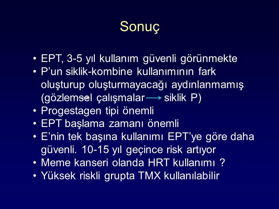 Sonuç EPT, 3-5 yıl kullanım güvenli görünmekte P'un siklik-kombine kullanımının fark oluşturup oluşturmayacağı aydınlanmamış (gözlemsel çalışmalar siklik P) Progestagen tipi önemli EPT başlama zamanı önemli E'nin tek başına kullanımı EPT'ye göre daha güvenli.