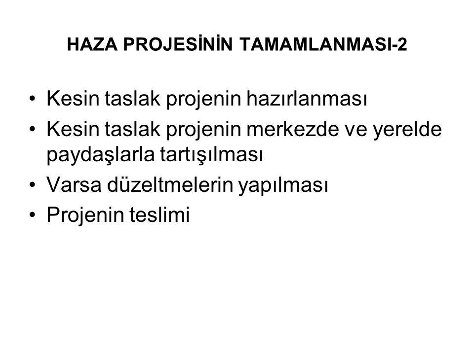 HAZA PROJESİNİN TAMAMLANMASI-2 Kesin taslak projenin hazırlanması Kesin taslak projenin merkezde ve yerelde paydaşlarla tartışılması Varsa düzeltmeler