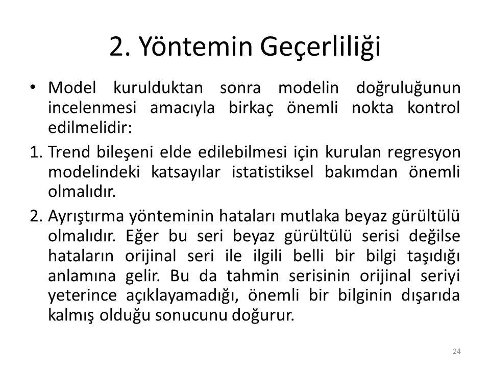 2. Yöntemin Geçerliliği Model kurulduktan sonra modelin doğruluğunun incelenmesi amacıyla birkaç önemli nokta kontrol edilmelidir: 1.Trend bileşeni el