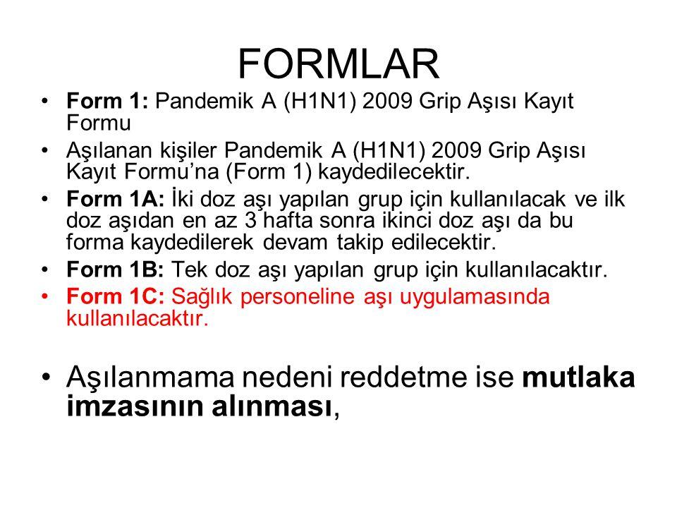 FORMLAR Form 1: Pandemik A (H1N1) 2009 Grip Aşısı Kayıt Formu Aşılanan kişiler Pandemik A (H1N1) 2009 Grip Aşısı Kayıt Formu'na (Form 1) kaydedilecekt