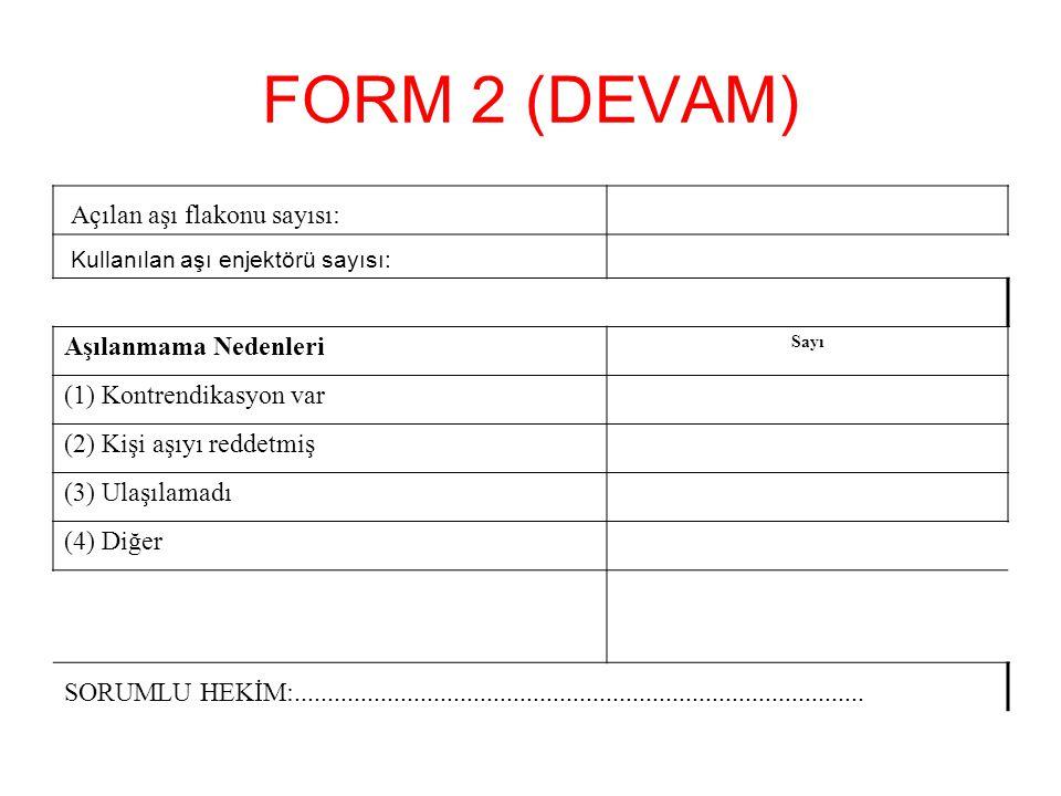 FORM 2 (DEVAM) Açılan aşı flakonu sayısı: Kullanılan aşı enjektörü sayısı: Aşılanmama Nedenleri Sayı (1) Kontrendikasyon var (2) Kişi aşıyı reddetmiş