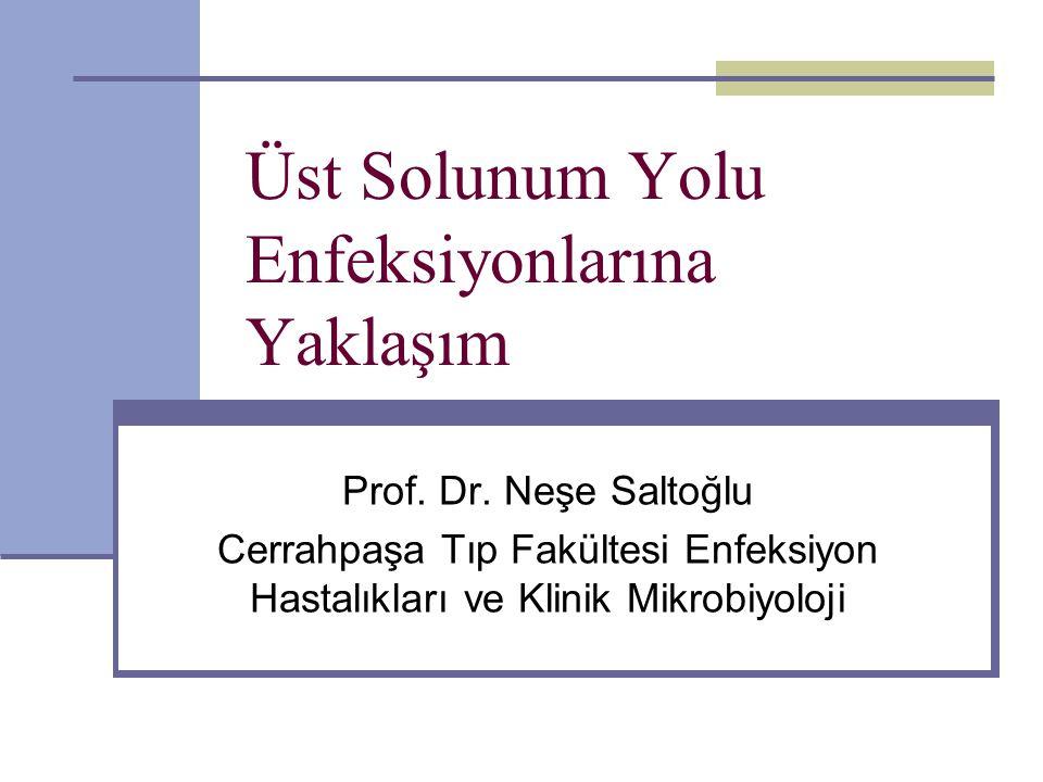 Üst Solunum Yolu Enfeksiyonlarına Yaklaşım Prof. Dr. Neşe Saltoğlu Cerrahpaşa Tıp Fakültesi Enfeksiyon Hastalıkları ve Klinik Mikrobiyoloji