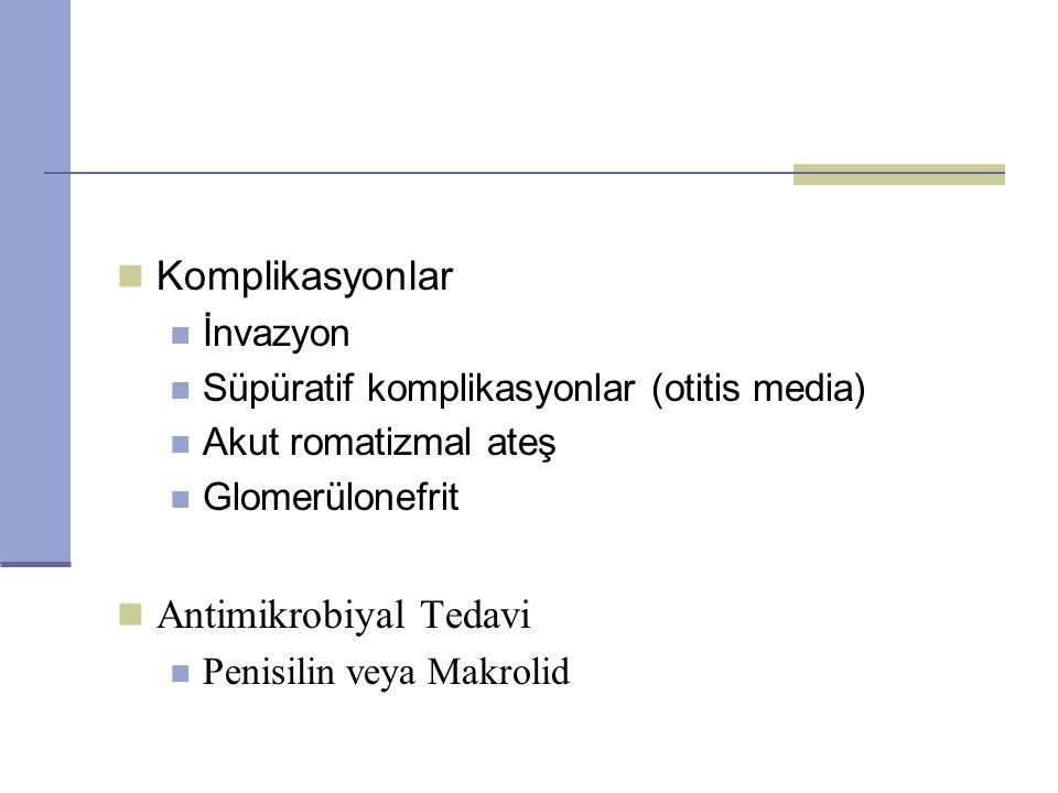 Komplikasyonlar İnvazyon Süpüratif komplikasyonlar (otitis media) Akut romatizmal ateş Glomerülonefrit Antimikrobiyal Tedavi Penisilin veya Makrolid