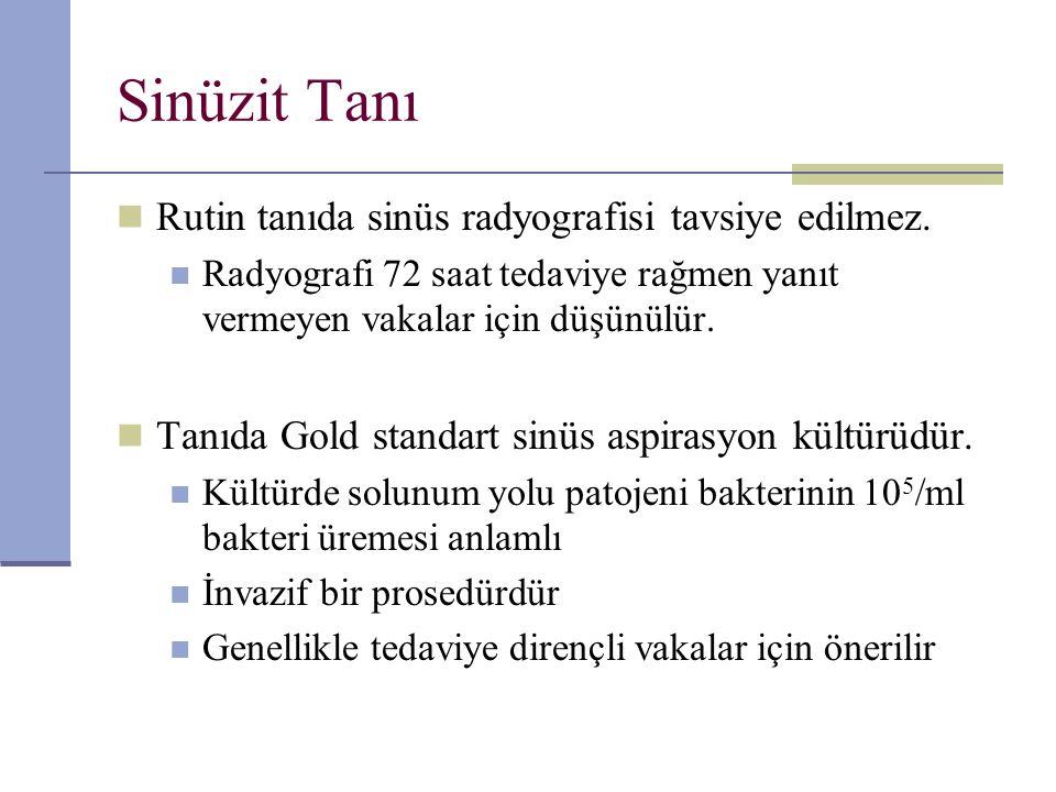 Sinüzit Tanı Rutin tanıda sinüs radyografisi tavsiye edilmez. Radyografi 72 saat tedaviye rağmen yanıt vermeyen vakalar için düşünülür. Tanıda Gold st
