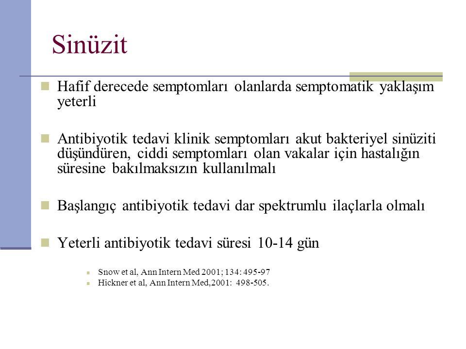 Sinüzit Hafif derecede semptomları olanlarda semptomatik yaklaşım yeterli Antibiyotik tedavi klinik semptomları akut bakteriyel sinüziti düşündüren, c