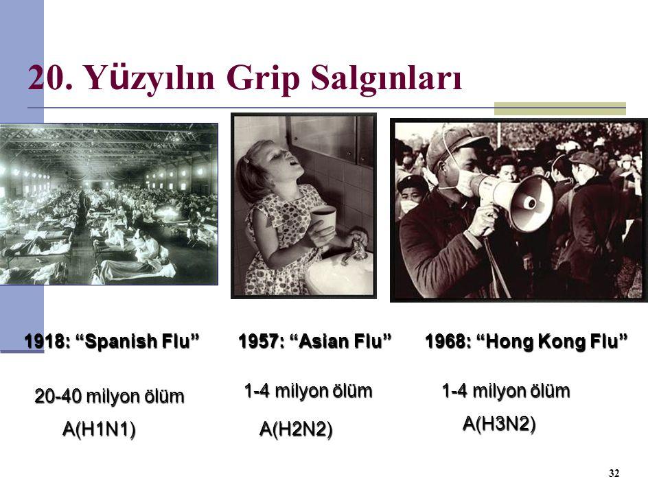"""20. Y ü zyılın Grip Salgınları 32 A(H2N2) 1-4 milyon ölüm 1957: """"Asian Flu"""" 1-4 milyon ölüm 1968: """"Hong Kong Flu"""" 1918: """"Spanish Flu"""" 20-40 milyon ölü"""