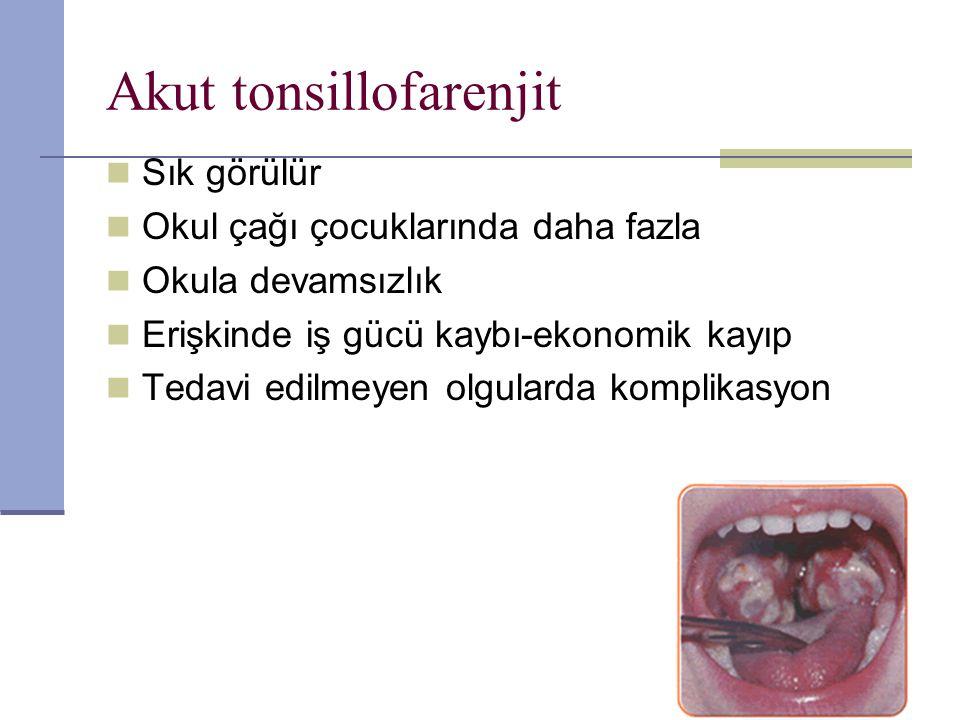 Akut tonsillofarenjit *Viruslar%75 oranında etken *3 yaş altında sık Adenovirus Enterovirus Parainfluenza Ebstein-Barr virusu Herpes simplex Respiratory sinsityal virus İnfluenza A ve B Sitomegalovirus