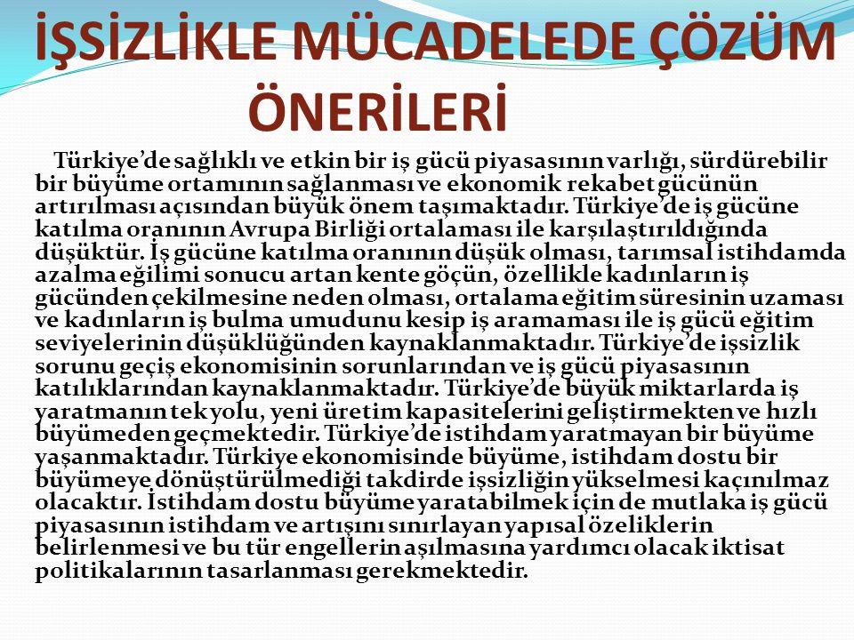 İŞSİZLİKLE MÜCADELEDE ÇÖZÜM ÖNERİLERİ Türkiye'de sağlıklı ve etkin bir iş gücü piyasasının varlığı, sürdürebilir bir büyüme ortamının sağlanması ve ek