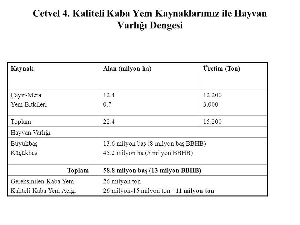 Cetvel 4. Kaliteli Kaba Yem Kaynaklarımız ile Hayvan Varlığı Dengesi KaynakAlan (milyon ha)Üretim (Ton) Çayır-Mera Yem Bitkileri 12.4 0.7 12.200 3.000