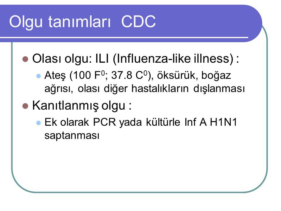 Olgu tanımları CDC Olası olgu: ILI (Influenza-like illness) : Ateş (100 F 0 ; 37.8 C 0 ), öksürük, boğaz ağrısı, olası diğer hastalıkların dışlanması