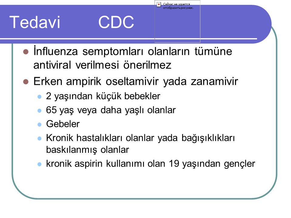 Tedavi CDC İnfluenza semptomları olanların tümüne antiviral verilmesi önerilmez Erken ampirik oseltamivir yada zanamivir 2 yaşından küçük bebekler 65