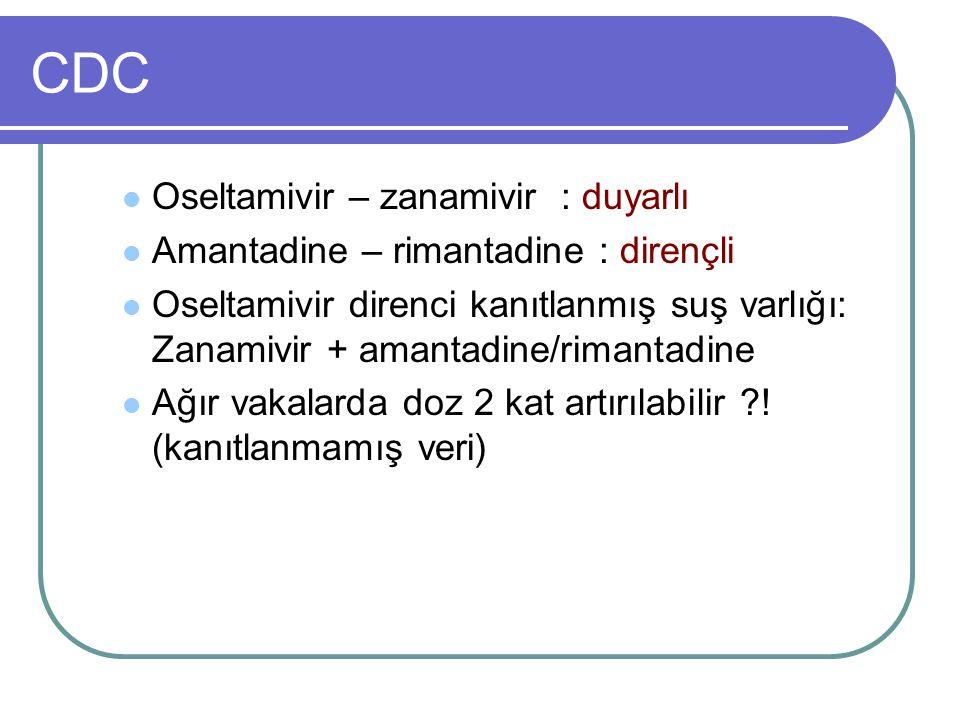 CDC Oseltamivir – zanamivir : duyarlı Amantadine – rimantadine : dirençli Oseltamivir direnci kanıtlanmış suş varlığı: Zanamivir + amantadine/rimantad