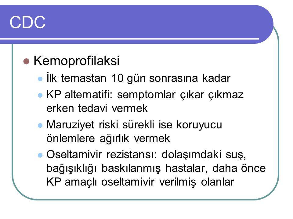 CDC Kemoprofilaksi İlk temastan 10 gün sonrasına kadar KP alternatifi: semptomlar çıkar çıkmaz erken tedavi vermek Maruziyet riski sürekli ise koruyuc