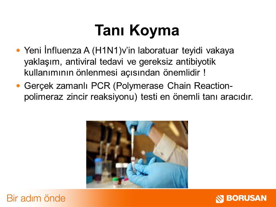 Tanı Koyma Yeni İnfluenza A (H1N1)v'in laboratuar teyidi vakaya yaklaşım, antiviral tedavi ve gereksiz antibiyotik kullanımının önlenmesi açısından önemlidir .
