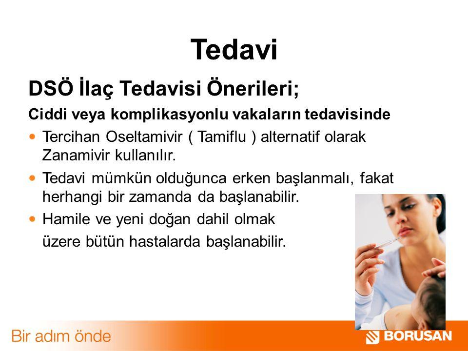 Tedavi DSÖ İlaç Tedavisi Önerileri; Ciddi veya komplikasyonlu vakaların tedavisinde Tercihan Oseltamivir ( Tamiflu ) alternatif olarak Zanamivir kulla