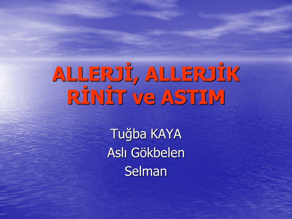 Ne zaman astım düşünülmeli Semptomların tetikleyici faktörlerden bir veya birkaç ile tekrarlaması veya artması Viral enfeksiyonlar Viral enfeksiyonlar Sigara, parfüm, boya kokuları Sigara, parfüm, boya kokuları Egzersiz Egzersiz Allerjenler(ev tozları, polenler, hayvan tüyler) Allerjenler(ev tozları, polenler, hayvan tüyler) Hava değişiklikleri Hava değişiklikleri Ağlama, gülme Ağlama, gülme