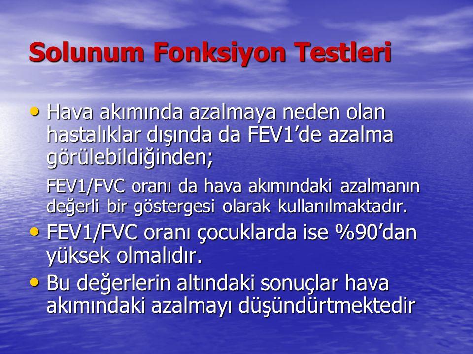 Solunum Fonksiyon Testleri Hava akımında azalmaya neden olan hastalıklar dışında da FEV1'de azalma görülebildiğinden; Hava akımında azalmaya neden ola