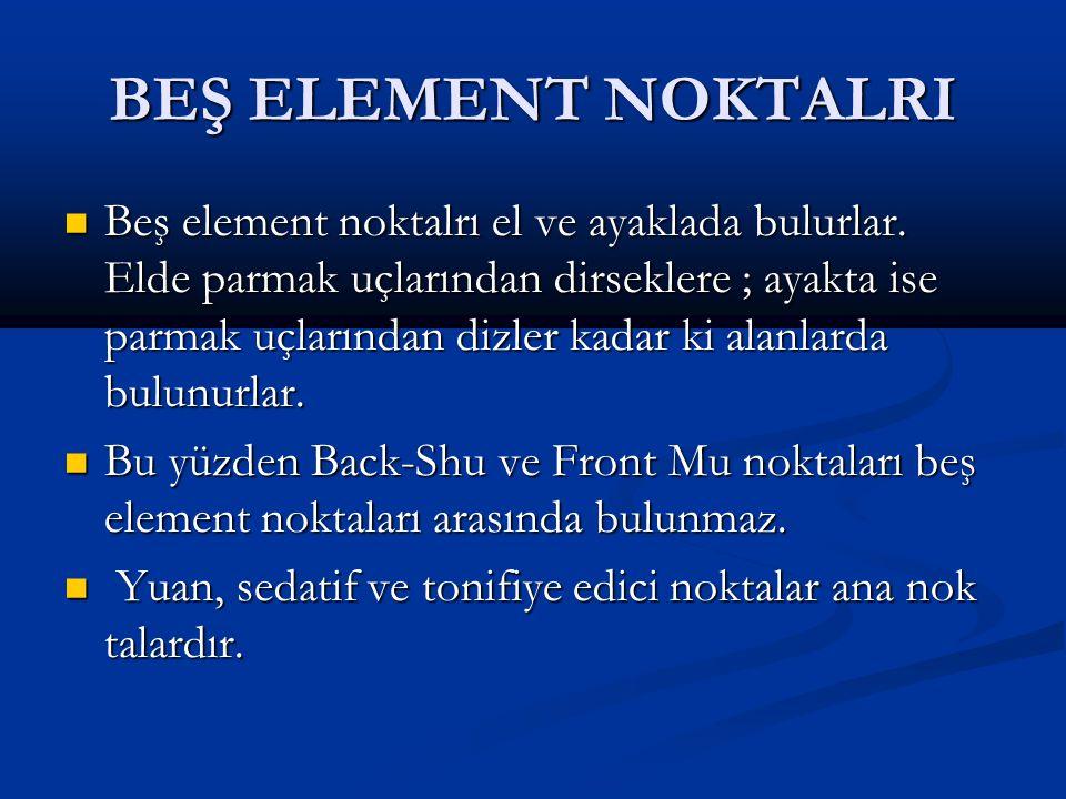 BEŞ ELEMENT NOKTALRI Beş element noktalrı el ve ayaklada bulurlar.