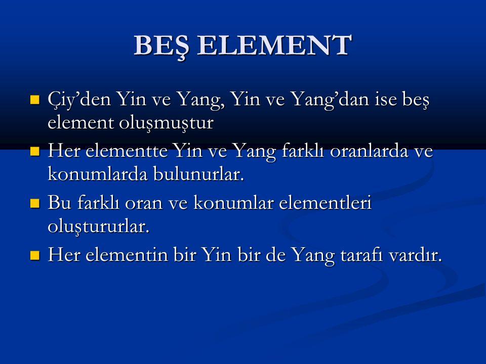 BEŞ ELEMENT Çiy'den Yin ve Yang, Yin ve Yang'dan ise beş element oluşmuştur Çiy'den Yin ve Yang, Yin ve Yang'dan ise beş element oluşmuştur Her elementte Yin ve Yang farklı oranlarda ve konumlarda bulunurlar.