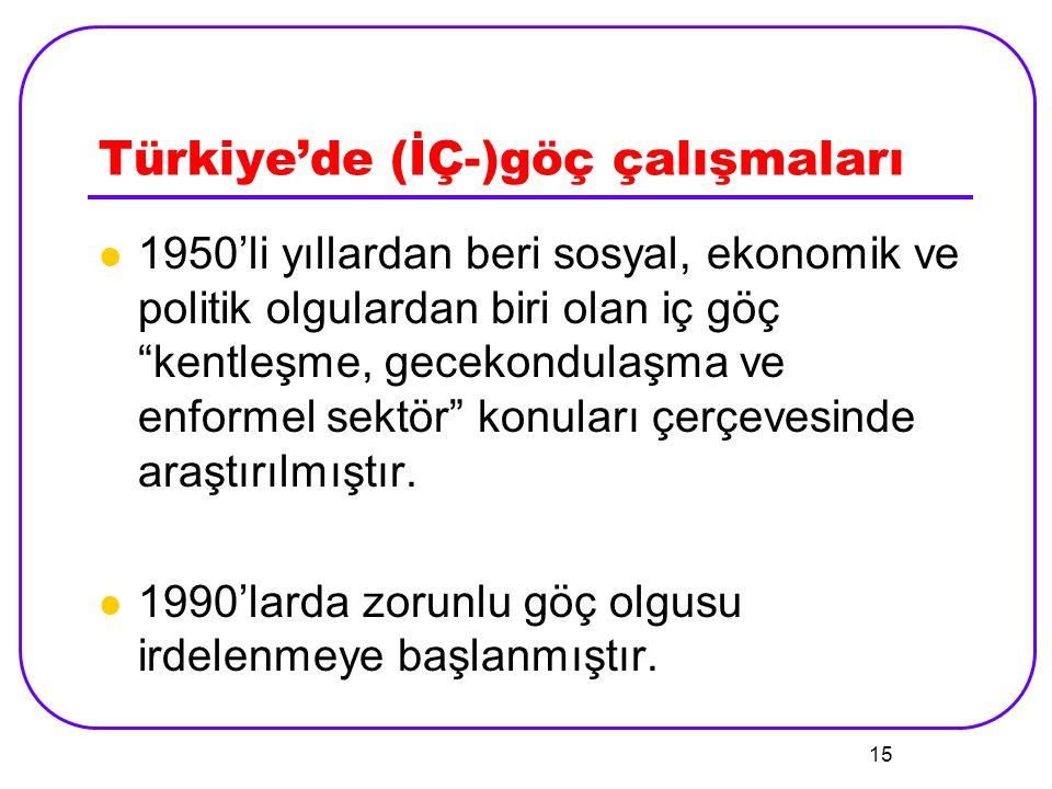 """15 Türkiye'de (İÇ-)göç çalışmaları 1950'li yıllardan beri sosyal, ekonomik ve politik olgulardan biri olan iç göç """"kentleşme, gecekondulaşma ve enform"""