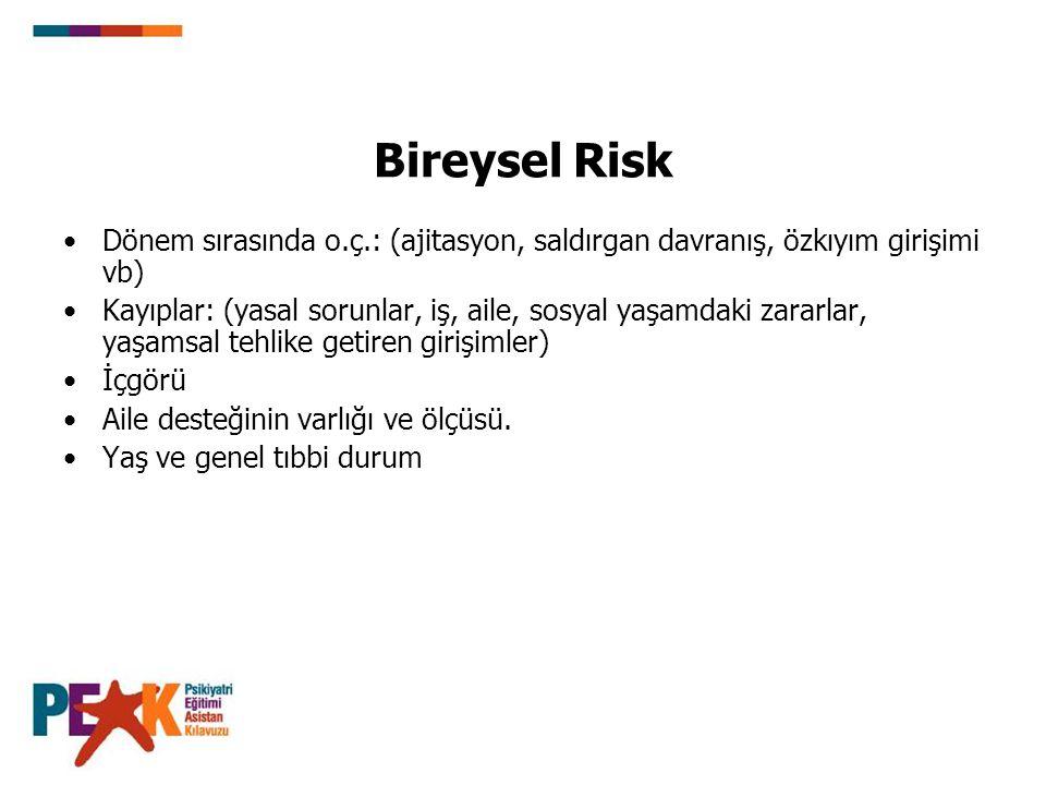 Bireysel Risk Dönem sırasında o.ç.: (ajitasyon, saldırgan davranış, özkıyım girişimi vb) Kayıplar: (yasal sorunlar, iş, aile, sosyal yaşamdaki zararla