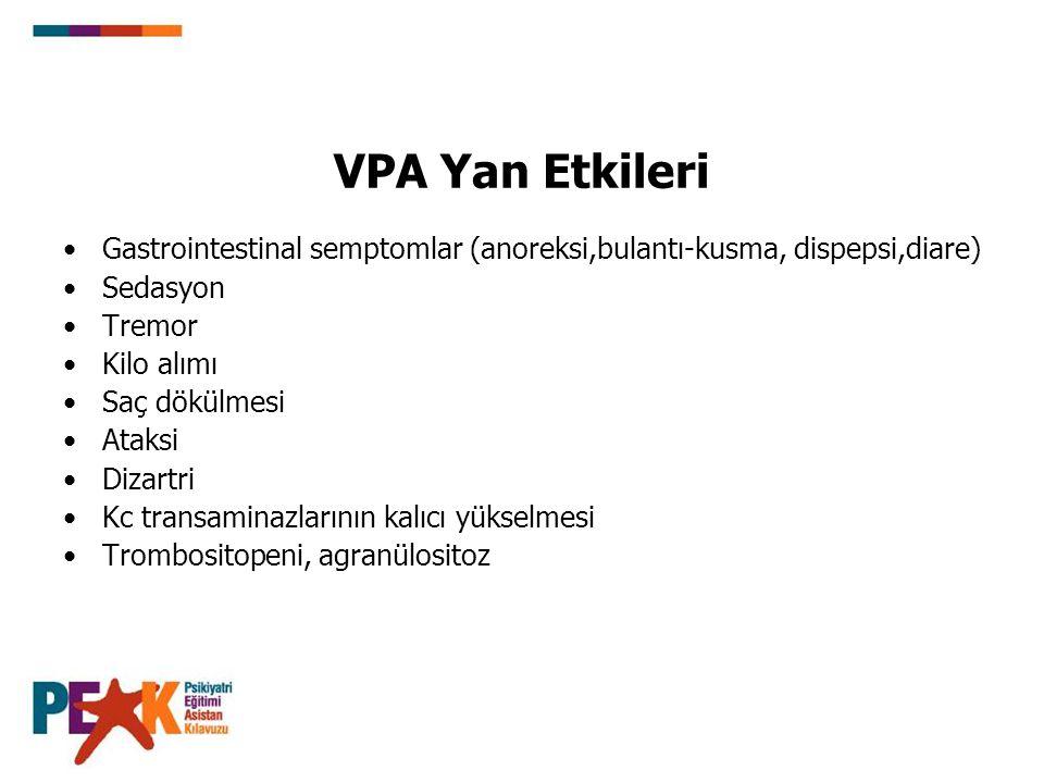 VPA Yan Etkileri Gastrointestinal semptomlar (anoreksi,bulantı-kusma, dispepsi,diare) Sedasyon Tremor Kilo alımı Saç dökülmesi Ataksi Dizartri Kc tran