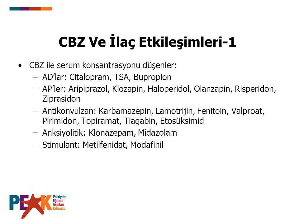 CBZ Ve İlaç Etkileşimleri-1 CBZ ile serum konsantrasyonu düşenler: –AD'lar: Citalopram, TSA, Bupropion –AP'ler: Aripiprazol, Klozapin, Haloperidol, Ol