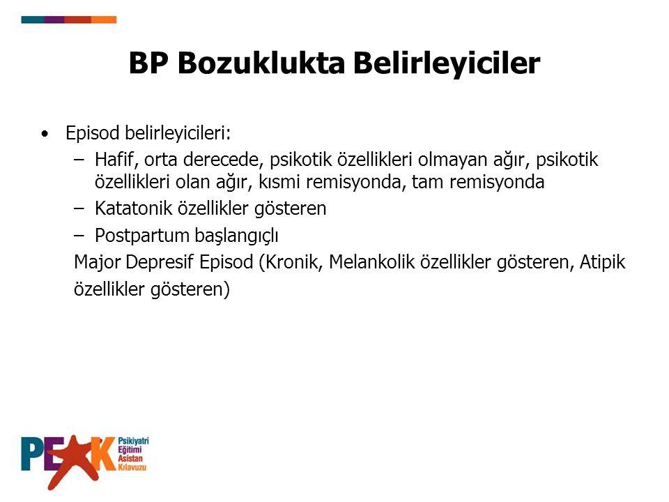 BP Bozuklukta Belirleyiciler Episod belirleyicileri: –Hafif, orta derecede, psikotik özellikleri olmayan ağır, psikotik özellikleri olan ağır, kısmi r